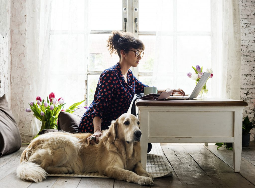 Woman working at home with her dog